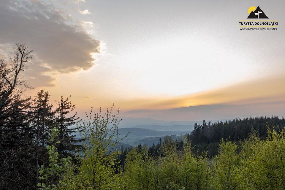 zachód Słońca, widok z Małego Dzikowca